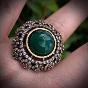 ROYAL JEWELS VINTAGE EMERALD RUBY RING 8.5